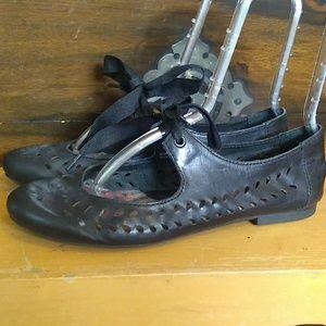 Born Black Leather Flats